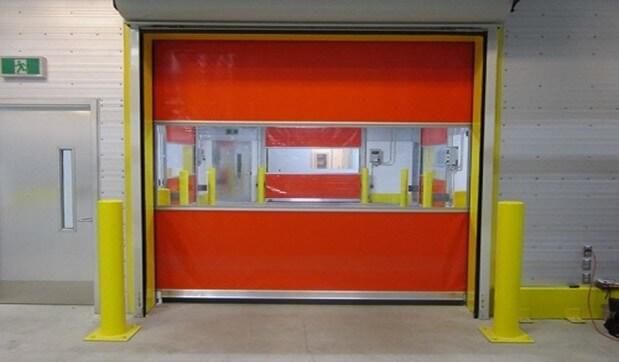High-speed vinyl door installed in a food distribution center.