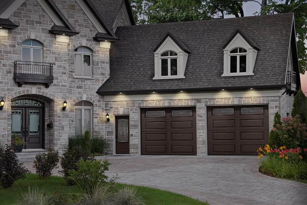 Prestigious house with 2 garages doors in Prestige XL design, Moka Brown colors, Cachet windows