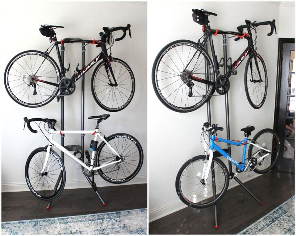 Delta Cycle freestanding bike rack in a home office, holding two bikes. It can work well in the garage, too.
