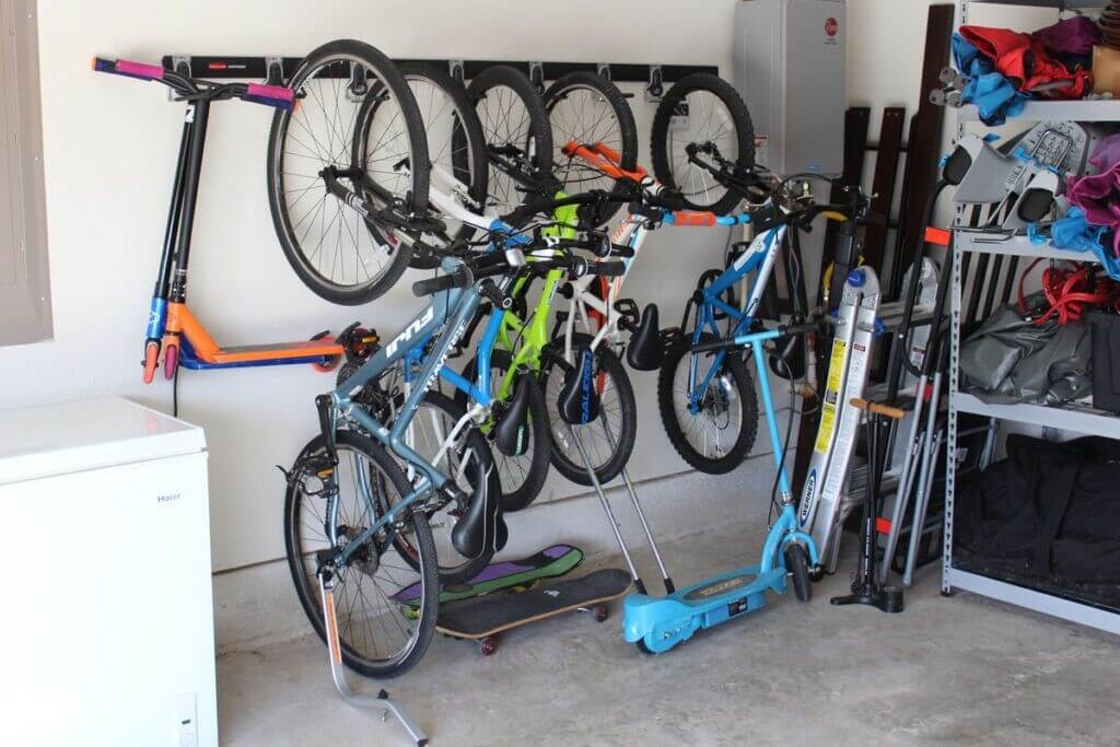Hanging bike rack for the garage from Rubbermaid.