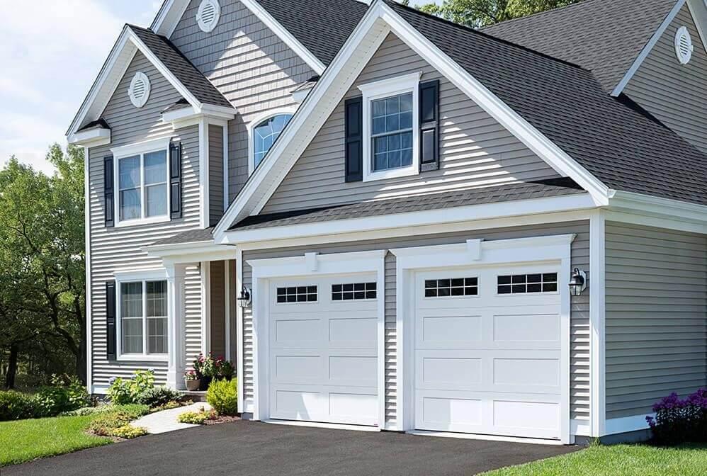 Garage doors: Standard+ Shaker-Flat XL, 9' x 8', Ice White, 8 lite Orion windows