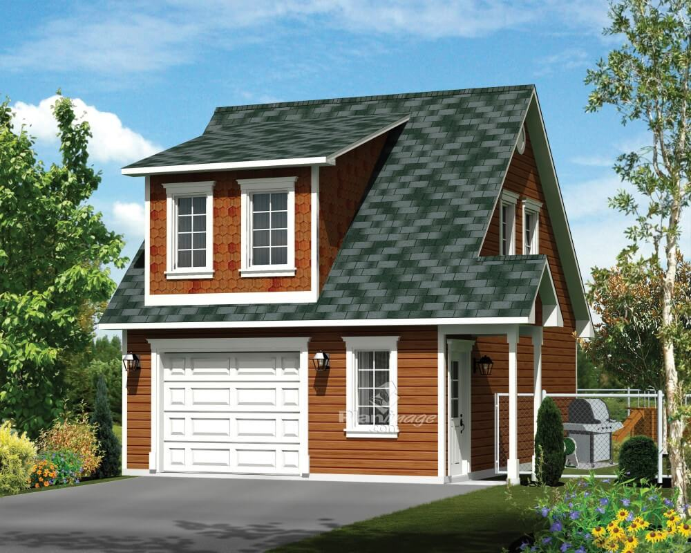 A charming traditional detached garage door with a second floor above the garage, a dormer.