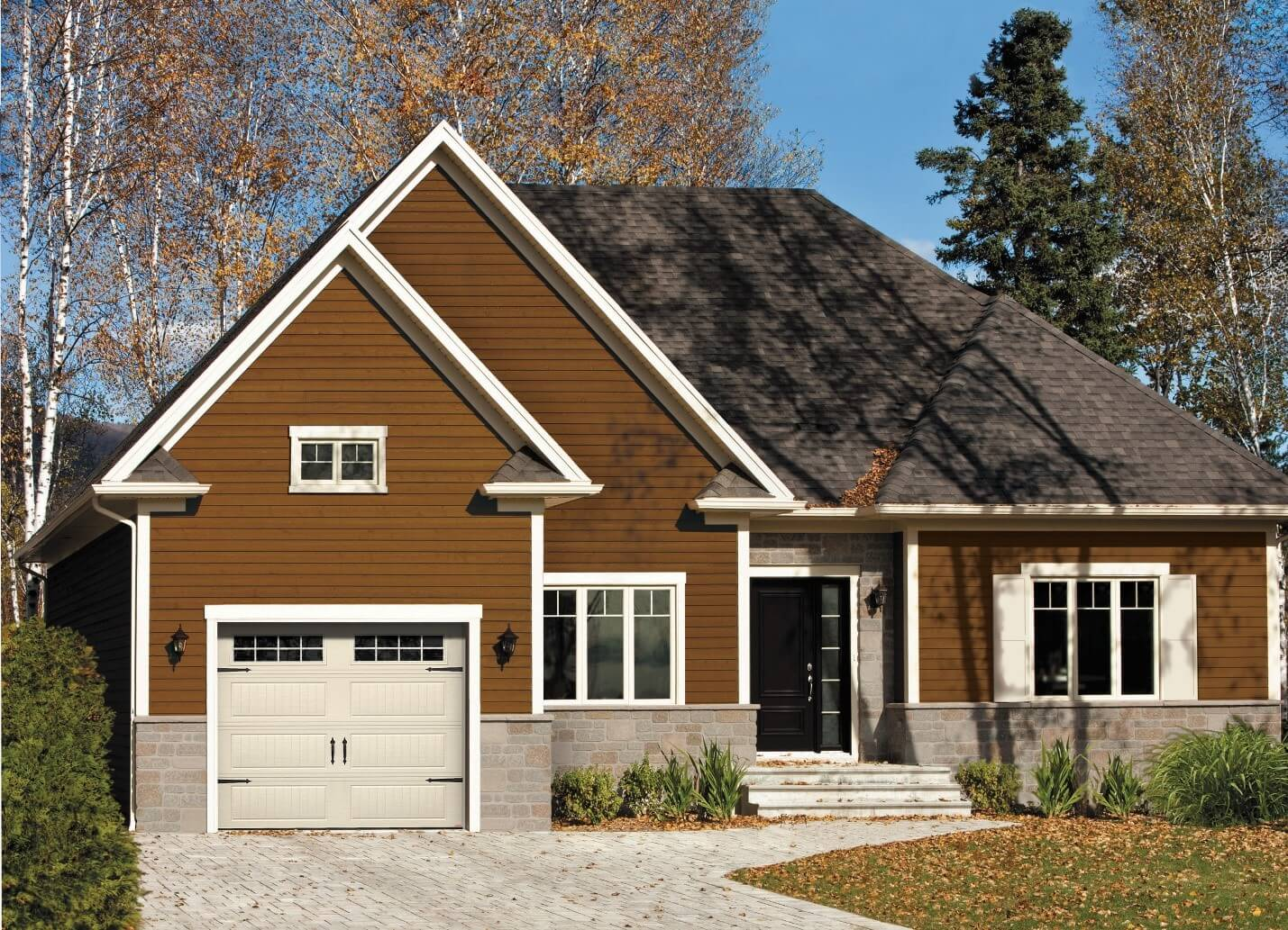 Stone and wood traditional1-story home with a North Hatley LP, color Sand, and windows