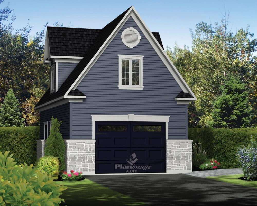 A traditional detached garage in wood and stones  with a second floor, dormers