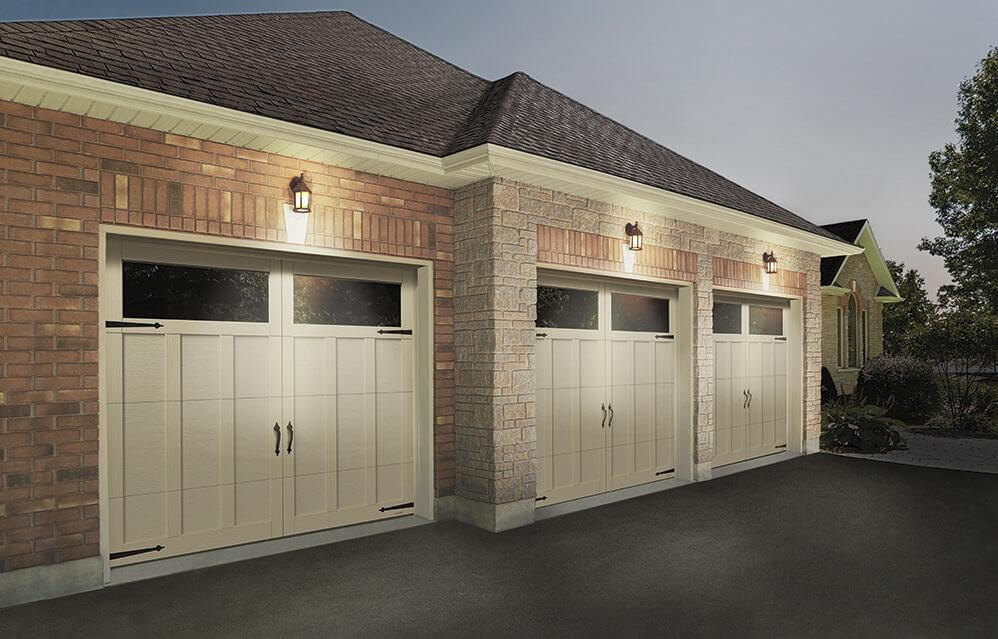 What do you think of these garage doors? These are Eastman E-13, 8'x7', in Desert Sand doors and overlays, with Panoramic Clear Windows.