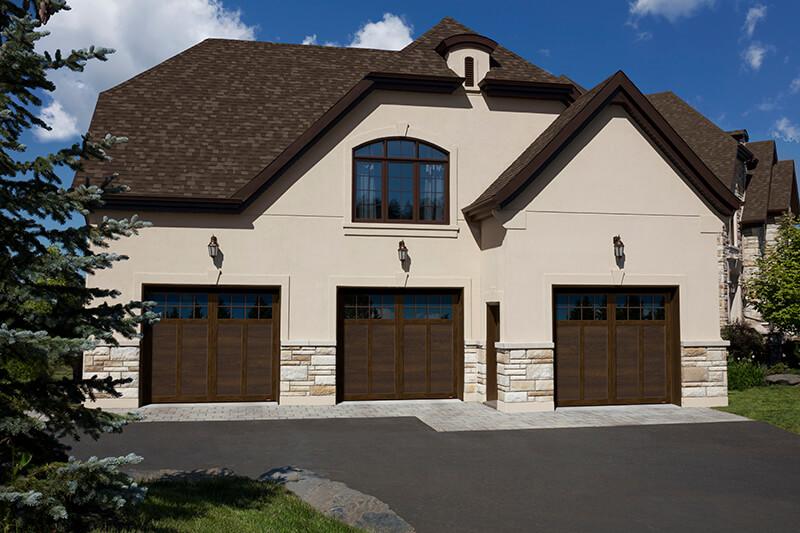 Princeton P-12, 9' x 8', Chocolate Walnut doors and overlays, 8 lite Panoramic windows