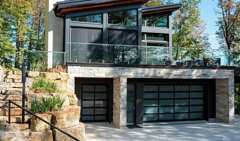 "Garage doors: California, 6' x 8' 6"" and 16' x 8' 6"", Black aluminum frame, Sandblasted glass"