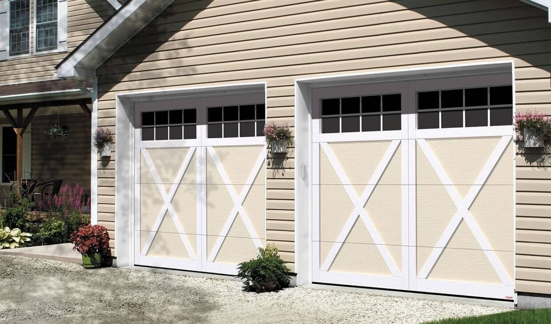 Garage Doors: Eastman E-21, 9' x 7', Desert Sand doors and Ice White overlays, 8 lite Panoramic windows