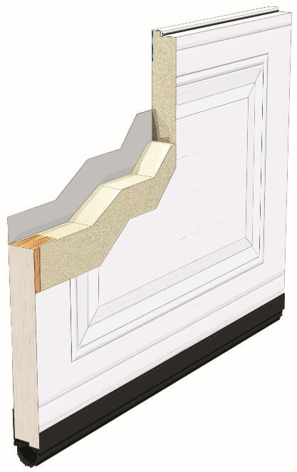 A Standard+ door isolated with polyurethane foam.