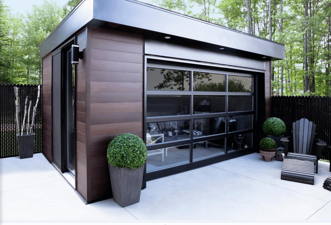 Garage Door Model: California, 12' x 7', Black aluminum frame, Clear glass