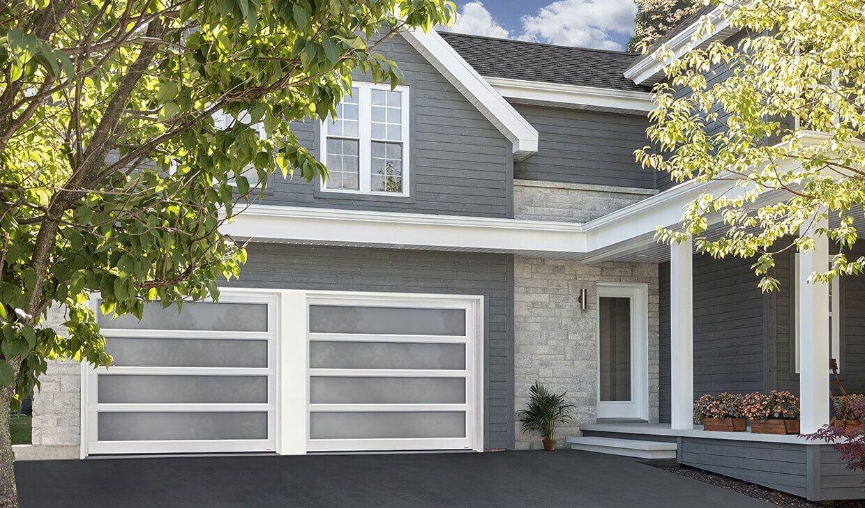 Garage Door Model: California, 9' x 7', White aluminum frame, Sandblasted glass