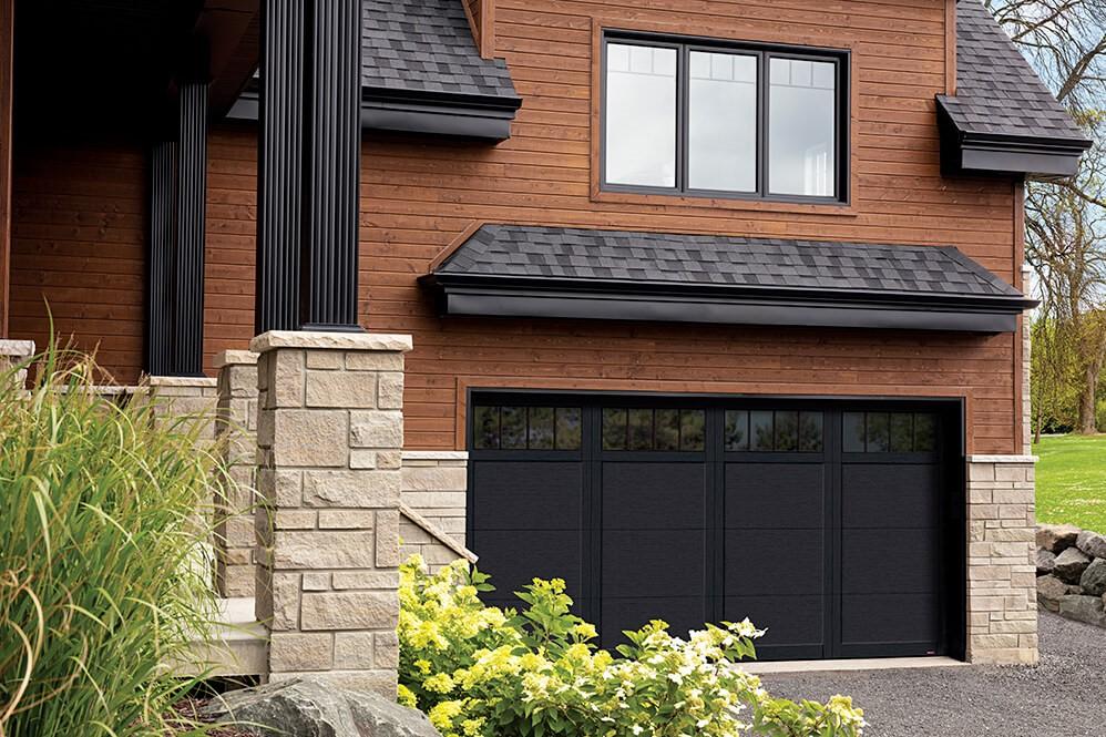 EASTMAN E-11 Garage Door, Black door & overlays, and with 4 lite Panoramic windows