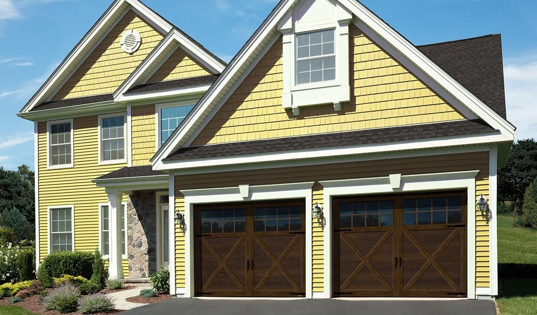 PRINCETON P-21 Garage Doors (X-Shaped Overlays), Chocolate Walnut doors & overlays, and with 8 lite Panoramic windows