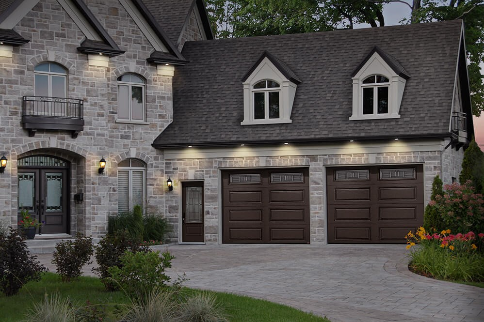 9x8 Garage Doors, in Prestige XL Pattern, Moka Brown Color and with Cachet Windows
