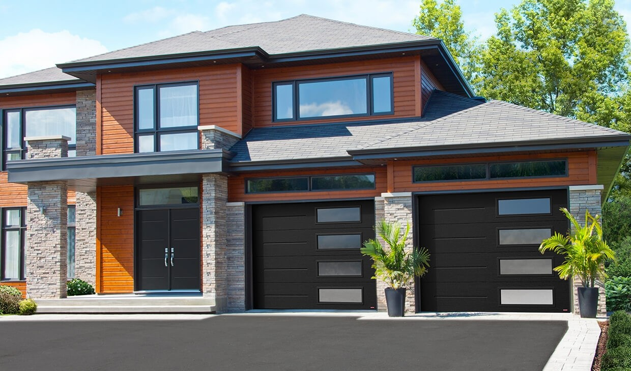 These are 9x8 Garage Doors, in VOG Pattern, Black Color, and with Right Side Harmony Windows