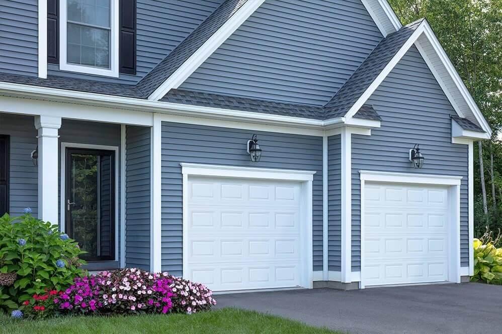 Garage doors are Standard+ Classic CC, 9' x 7', Ice White