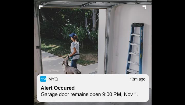 Alert Occured on your LiftMaster MyQ app: Garage door remains open 9:00 PM, Nov. 1