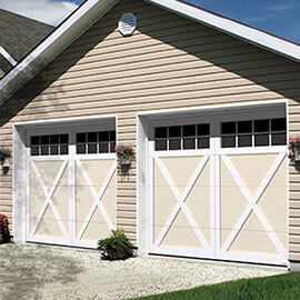 Eastman E-21, 9' x 7', Desert Sand doors and Ice White overlays, 8 lite Panoramic windows