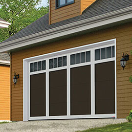Eastman E-11, 16' x 8', Moka Brown door and Ice White overlays, 4 vertical lite Panoramic windows