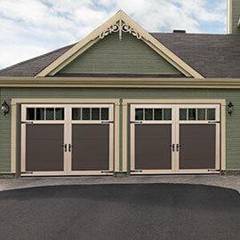 Eastman E-11, 9' x 7', Moka Brown door and Desert Sand overlays, 4 vertical lite Panoramic windows