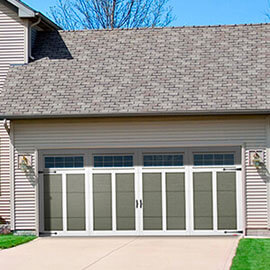 Eastman E-12, 16' x 7', Dark Sand door and Ice White overlays, 8 lite Orion windows