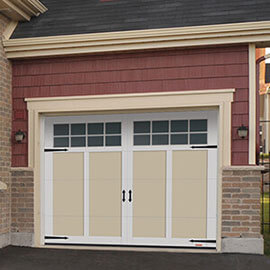 Eastman E-12, 8' x 7', Desert Sand door and Ice White overlays, 8 lite Panoramic windows
