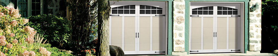 Eastman E-12, 8' x 7', Desert Sand door and Ice White overlays, Arch Overlay 8 lite Panoramic windows