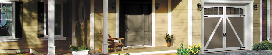 Eastman E-22, 9' x 7', Moka Brown door and Ice White overlays, Arch Overlay with 4 vertical lites Panoramic windows