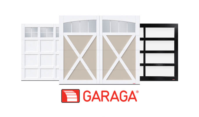 Cambridge, Eastman and California garage doors with Garaga logo