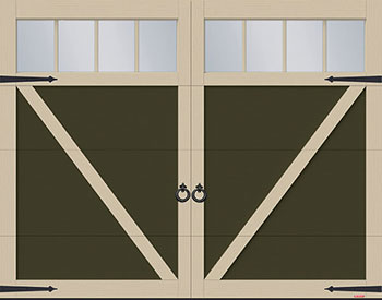 Eastman E-23, 9' x 7', Dark Sand door and Claystone overlays, 4 vertical lite Panoramic windows
