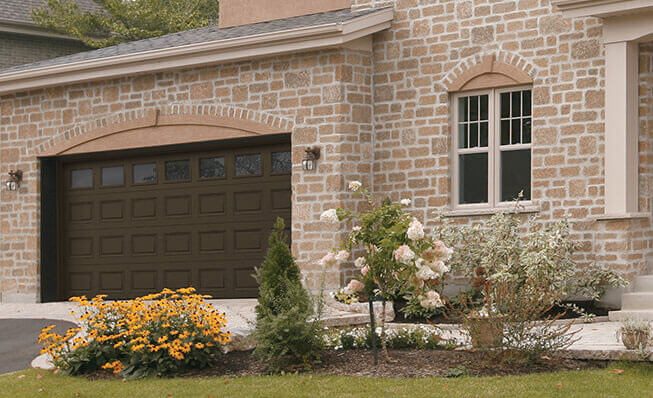 Nebraska garage door - Classic CC, 16' x 7', Moka Brown, Clear windows