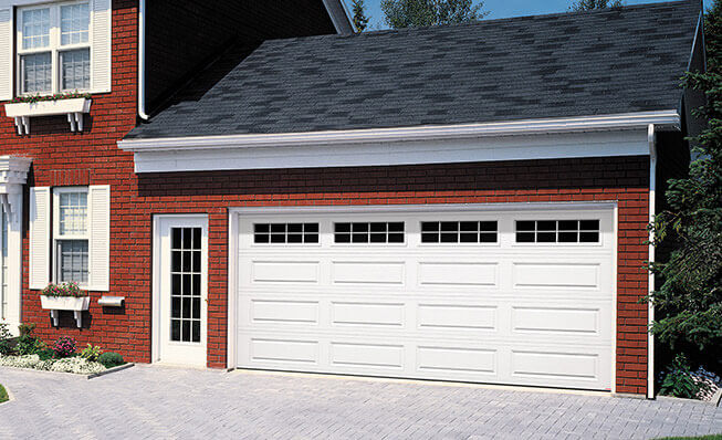 Traditional garage door style in elkhorn - Classic XL, 16' x 7', Ice White, 8 lite Orion windows