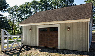 Carriage house garage door style in Scarborough - Standard+ North Hatley SP, 8' x 7', Chocolate Walnut, Clear windows