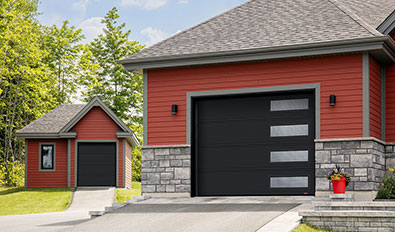 Contemporary garage door in cedar valley - Standard+ Moderno 2 beads, 6' x 7' and 10' x 8', Black, window layout: Right-side Harmony
