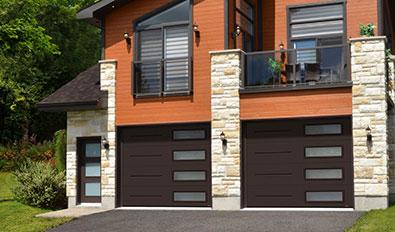 Contemporary garage door style in hiawatha - Standard+ Vog, 10' x 8', Moka Brown, window layout: Right-side Harmony