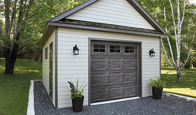 Traditional garage door style in Hamburg - Standard+ Shaker-Flat CC, 7' x 7', Iron Ore Walnut, Orion 4 lite windows