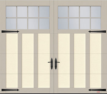Princeton P-13, 8' x 7', Desert Sand door and Claystone overlays, 8 lite Panoramic windows
