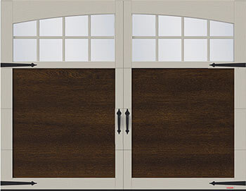 Princeton P-11, 9' x 7', Chocolate Walnut door and Claystone overlays, Arch Overlays with 8 lite Panoramic windows