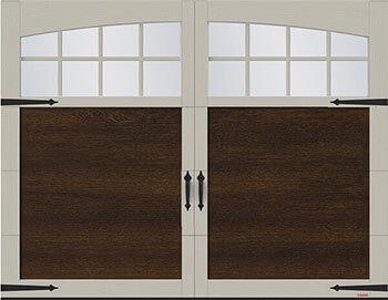 Princeton P-11, 9' x 7', porte Noyer Chocolaté et moulures Argile, Moulure Arche avec Panoramique Clair