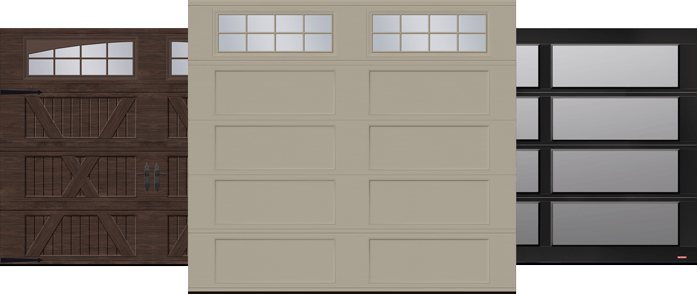 V Layout, Shaker XL and California garage doors